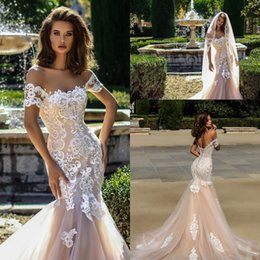 Wholesale Trumpet Mermaid Style Wedding Dresses - 2018 Champagne Mermaid Wedding Dresses Country Style New Arrival Short Sleeves Lace Appliques Tulle Bridal Gowns with Corset Back Weddings