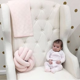 Wholesale Round Throw Pillows - Newborn Baby Pillow Infant Knot Nursery Cushion Plush Dolls Throw Pillow Children's Ball Toys Sofa Car Couch Decor