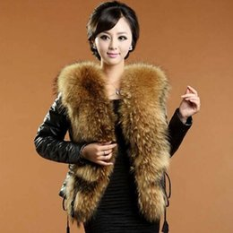 Wholesale Padded Leather Neck Collar - New fashion women's winter warm luxury faux raccoon fur collar patched PU leather long sleeve cotton-padded parka coat jacket