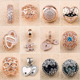 Wholesale glass cube clips - 18K Rose Gold Charms Clips Pendant for Pandora 925 Sterling Silver Charm Bracelet Necklace Jewelry making