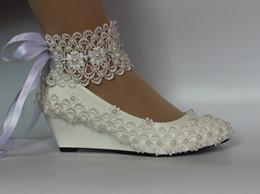 zapatos blancos abiertos de la boda de la perla Rebajas Nuevo encaje blanco marfil cristal perla punta abierta Zapatos de novia Talón talla 35-40