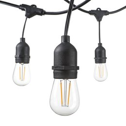 Wholesale Perfect Strings - 48 FT LED Outdoor String Lights UL Listed 15 Hanging Sockets Perfect Patio Lights 2 Watt Dimmable LED Bulbs