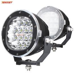 Wholesale Round Led Lights For Trucks - Black Shell 5 Inch Cree Chips 80W LED Front Bumper Work Light For Wrangler Truck ATV UTV Car 12V 24V