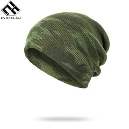 Motif bonnet en coton en Ligne-Evrfelan Mode Camouflage Motif Bonnets Hommes Hiver Chapeau Mâle Tricoté Camo Hiver Bonnet Femmes Hommes Crânes Bonnets Coton
