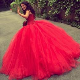 2020 estilos de vestido de quinceañera Vestidos Quinceanera Vermelho Com Querida Beads Lantejoulas Vestido de Baile Meninas Graduação Vestido de Renda para Trás Voltar Tulle País Estilo Vestidos de Baile Vestidos estilos de vestido de quinceañera barato