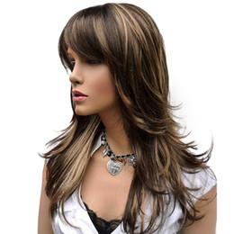 des perruques synthétiques mises en évidence Promotion ZYR perruque longue ligne droite perruque brune avec des reflets blonds synthétiques