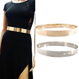 Wholesale Wide Gold Metallic Belt - Women High Waist Metal Mirror Belt Metallic Gold Plate Shiny Chain Wide Obi Band