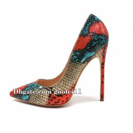 Wholesale Sexy Silver Prom Heels - luxury brand Snake Printed Sexy stilettos high heels Ladies Shoes 2018 Pointed Toe Party Prom Women Pumps weeding shoes size 11 13 42