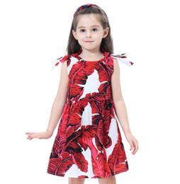 Argentina Primavera verano niñas princesa vestido de impresión grandes hojas niños vestidos de algodón sin mangas rojo azul verde envío gratis Suministro