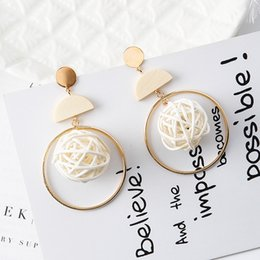 Wholesale Wholesale Nest - New Fashion Earrings handmade big circle wood nest stud long earrings For Women Charm Statement Jewelry Party Gifts Pendientes Accessories