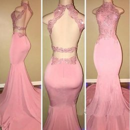 Wholesale Silk Flowers Lilacs - Gorgeous High Neck Pink Lace 2108 Prom Dress Mermaid Long On Sale Backless Formal Dresses