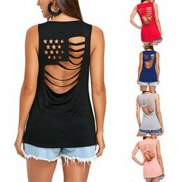 Wholesale long black vest women - Women Tank T shirt Summer American Flag Hollow Out Women O-Neck Short Top Sleeveless Female Vest
