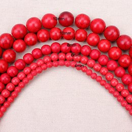 Wholesale Turquoise Bead Strand Necklace - 8mm 1 strand pack 4,6,8,10,12mm Dia Red Smooth Howlite Natural Stone Loose Beads For DIY Bracelet Necklace Jewelry Making