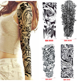 Wholesale Body Tattoos For Men - 3Pcs Temporary Tattoo Sleeve Waterproof Tattoos for Men Women Metal Stickers Transfer Flash Tattoo Metallic Stickers On The Body