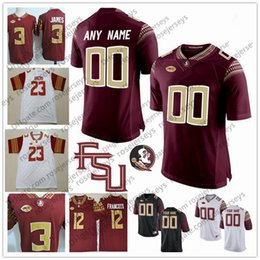 Custom Florida State Seminoles College Football 2018 FSU white red black Stitched  Any Name Number 23 Cam Akers 12 Deondre Francois Jersey 739613ca7