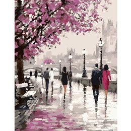 комплекты для набивки брезентовой краски Скидка Wholesale-Frameless Cherry Blossoms Road Diy Oil Painting By Numbers Kits Wall Art Picture Home Decor Acrylic Paint On Canvas For Artwork