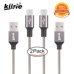 Wholesale Braided Iphone Charging Cable - Kiirie Micro USB Cable Set With 4 Durable Data Lines 1x0.5m+1x1.5m Nylon Braided Cord Fast Charging For USB Type C Samsung Cell Phone Cable