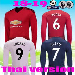 ccf77df4b66 18 19 ALEXIS LUKAKU long sleeve soccer jerseys 2018 2019 man POGBA 6  RASHFORD UtD football shirt MAILLOT DE FOOT UNITED THAILAND quality