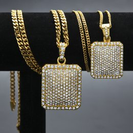 Wholesale Military Charms - 2018 Mens Hip Hop Chain Men's hip hop necklace blingbling rhinestone pendant full drill military necklace Chain Necklace Dog Tag