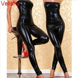 Wholesale pole dance clothes - Women PU Leather Jumpsuits Nightclub Bar DJ Costumes Pole dancing Clothes