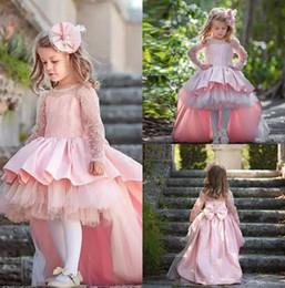 pajarita de cuello rosa Rebajas Los vestidos más nuevos de Pink High Low Flower Girls para el cuello de la joya de la boda faldas volantes de la manga del niño de la muchacha del pavo vestido del pajar vestido de los niños