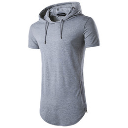 Wholesale Short Hooded T Shirt Men - 2018 Summer New Fashion Men's Hoodied Zipper O-neck Short Sleeve T-shirt Long Style Hip Hop 8 Colors Men's Solid Tops T Shirt