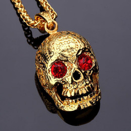 Wholesale Red Skulls - 2018 Fashion Skull Pendant Hip hop Necklace 18K golden HIPHOP jewelry Big Red Diamond for men women long chains gold 75cm chains