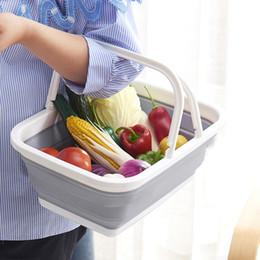 Wholesale cloth storage baskets - Multi Function Foldable Plastic Hand Basket Bathing Room Cloth Storage Baskets Fruits Vegetable Snacks Container Hot Sale 21ym Z
