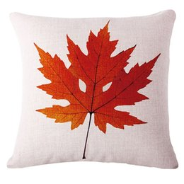 Wholesale Leaf Throw Pillows - Modern Minimalist Cotton Linen Leaf Pillowcase 18 x 18 Inches Fall Home Throw Pillow Cover Pillow Case
