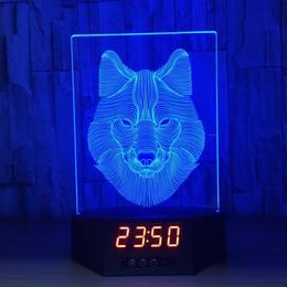 2019 luces de noche de lobo 3D Wolf Illusion Reloj Lámpara Luz nocturna Luces RGB USB alimentado 5ta batería IR remoto Dropshipping caja al por menor luces de noche de lobo baratos