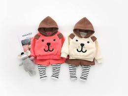 New baby ragazzi e ragazze con cappuccio orso maglione orecchio falso due pantaloni tuta set di abbigliamento da vestito falso fornitori