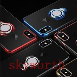 iphone прозрачный гибкий Скидка Для iphone X XR XS Max 7 8 Plus Прозрачный чехол ТПУ Прозрачный мягкий силиконовый чехол с подставкой для кольца