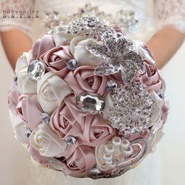 bolsas de alfombra al por mayor Rebajas Brillantes diamantes de imitación hechos a mano ramo de novia ramo de novia artificial 2018 boda romántica accesorios de la boda de la flor