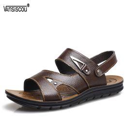 Мягкие удобные туфли онлайн-VANSISCOU New Summer Men Genuine Leather Sandals Breathable Soft Flats Slipper Male Anti-skid Comfy Open Toe Outdoor Beach Shoes