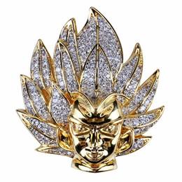 Argentina Dibujos animados personalizados Super Saiyan Wukong retrato colgante collar de cadena 18 K chapado en oro CZ Cublic Zirconia Diamond Hip Hop joyería para hombres Suministro