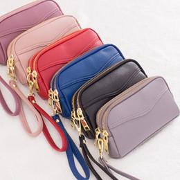 Piccola cerniera a doppia borsa online-2018 nuovo stile doppio sacchetto della mano della chiusura lampo delle donne moda piccola borsa del telefono cellulare borsa zero borsa semplice