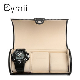 Wholesale Travel Watches Case - Black 3 Slot Cylindrical Watch Travel Case Leather Roll Jewelry Watch Storage Holder Watchbox Case Collector Organizer 19x9cm