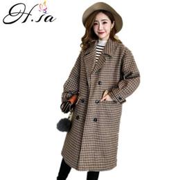 1d7a055c5828 H.SA 2018 lange koreanische Wintermantel Frauen breite Revers Tasche  Wollmischung Mantel lange Houndstooth Trench Outwear Wolle Frauen