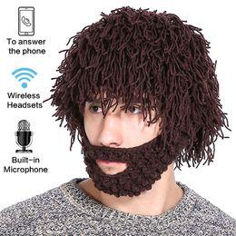 Wholesale Knitted Apple Hats - Wireless Women Men's Knit Bearded Music Hat Wig Winter Warm Ski Mask Hobo Mad Scientist Beanie Cap Bluetooth headphones