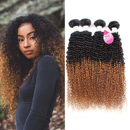 Wholesale Ombre Curly Hair Weaves - 10A Brazilian Ombre Virgin Kinky Curly Weave 4 Bundles 100% Human Hair Extensions Three Tone Color #1b 4 27 (100+ -5g) pc
