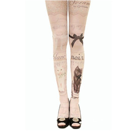 Wholesale animal print pants for women - New Women Tights With Cats Harajuku Tattoo Cat Pantyhose Female Fancy Stocking Medias Party Pants For Women pantyhoses Lolita
