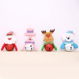 Wholesale Christmas Santa Figurines - Christmas Pendants decorations Xmas Deer tree bells ornaments Santa Claus bell Snowman dolls Home Party Accessory Supplies