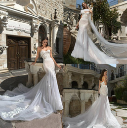 Wholesale Eva Gowns - Vintage Eva Lendel Mermaid Wedding Dresses Sweetheart Neck High Quality Lace Appliques Bridal Gowns Sweep Train Elegant Wedding Dress