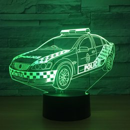 diy baby decor Coupons - Led Home Decor Gradients 3D light Desk Lamp For Kid Touch police Car Night Light Baby Sleep Usb Light Drop shipping Free Shipping