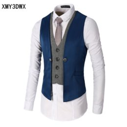Wholesale Slim Mens Waistcoat - 2017 New Dress Vests For Men Slim Fit Mens Suit Vest Male Waistcoat Gilet Homme Casual Sleeveless Formal Business Jacket