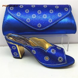 Royal Blue Nigerian Party Shoes and Bag Set Ladies Italian Shoes and Bag Set  Decorated with Rhinestone Matching Shoe and Bag Se red italian shoes bags  set ... 360bafa08cf5