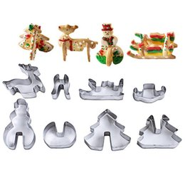 Wholesale wholesale metal christmas cookie cutters - 8pcs 3D Stainless Steel Christmas Scenario Cookie Cutters Metal Cookie Mold Fondant Cutter Baking Tool