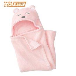 Wholesale Newborn Hooded Blanket - Gilrs Blankets Newborn Coral Fleece Animal Shape Baby Hooded Bathrobe Baby Bathrobe Bath Towel Blankets Neonatal Hold