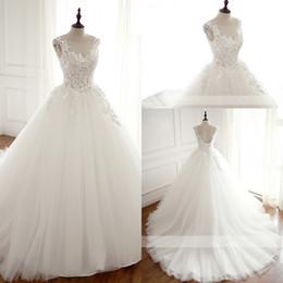 Wholesale Princess Ball Gown Bridal Dresses - Real Robe De Mariage Wedding Dress 2018 Ball Gown Boat Neck Custom Made Vestidos De Novia Bridal Gown