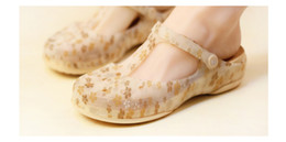 Wholesale Wedge Mary Jane Shoes - 2018 wedge heel hole shoes female summer non-slip comfort Mary Jane sandals Korean flowers jelly wild beach shoes